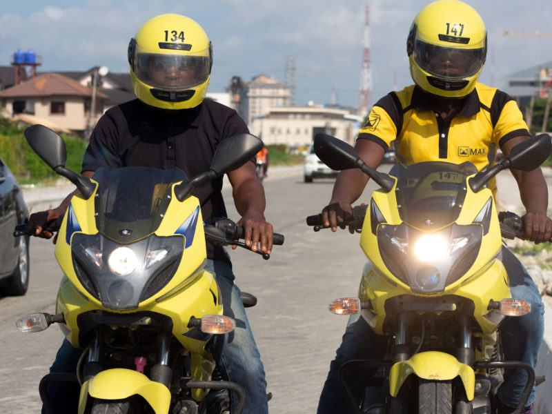 Two MaxGo bikers from front